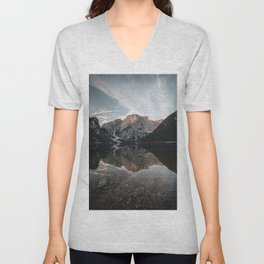 morning Reflection at the famous Lago di Braies Unisex V-Neck