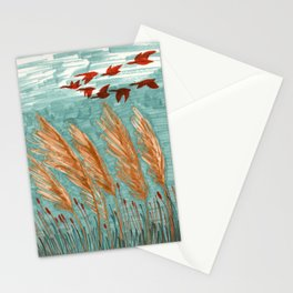 Geese Flying over Pampas Grass Stationery Cards