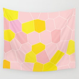 Pink and yellow Tile Pattern Wall Tapestry