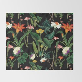 Vintage wild flowers black Throw Blanket