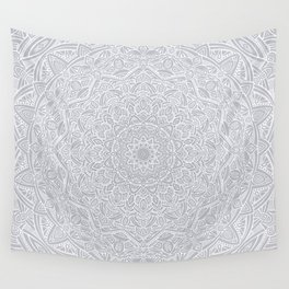 Most Detailed Mandala! Cool Gray White Color Intricate Detail Ethnic Mandalas Zentangle Maze Pattern Wall Tapestry