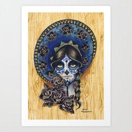Sombrero Skull Girl Art Print