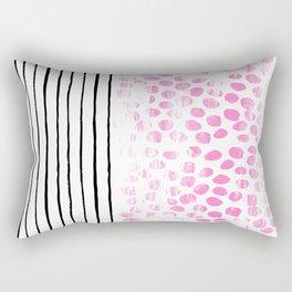 Dot Stripe hot pink black and white minimal abstract painting pattern trendy boho urban bklyn art Rectangular Pillow
