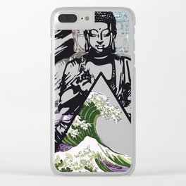 Buddha Wave Green Typhoon Clear iPhone Case