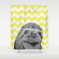 sloth Shower Curtains featuring Sloth by Emily Jane Illustrations