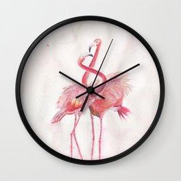 Flamingos Love Wall Clock