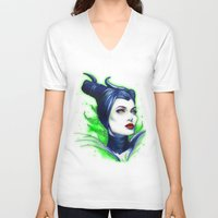 maleficent V-neck T-shirts featuring Maleficent by marziiporn