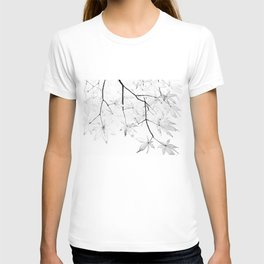 black and white maple leaves T-shirt