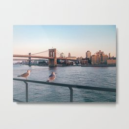 Brooklin Bridge (New York City - USA) view from Hudson river Metal Print