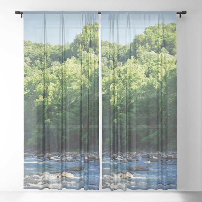 A Creek and Forest in West Virginia  Sheer Curtain