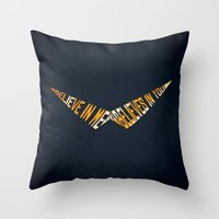 gurren lagann Throw Pillows featuring Believe In Me Who Believes In You by 5eth