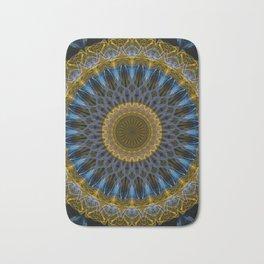 Mandala in golden and blue tones Bath Mat