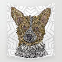 corgi Wall Tapestries featuring Welsh Corgi by ArtLovePassion