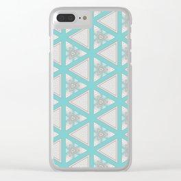 Bright Aqua White Multi Pattern Design Clear iPhone Case