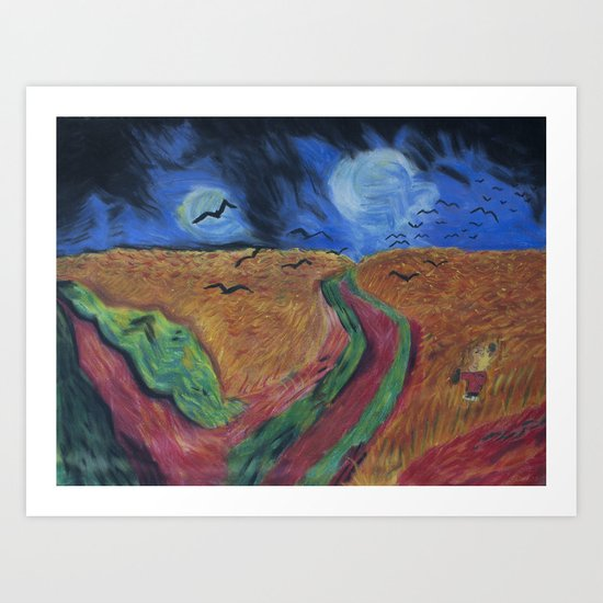 Crows Over A Wheat Field and Calvin Art Print