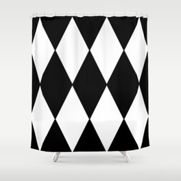 LARGE BLACK AND WHITE HARLEQUIN DIAMOND PATTERN Shower Curtain
