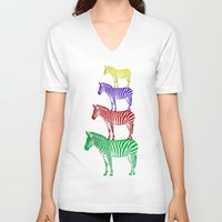 popart V-neck T-shirts featuring Zebra PopArt by Monika Juengling