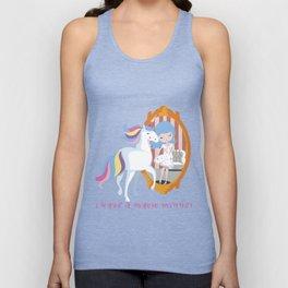 Unicorn and Girl, Mirror Beauty Transformation T shirt Unisex Tank Top
