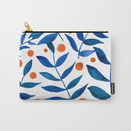 Watercolor berries and branches - blue and orange Carry-All Pouch
