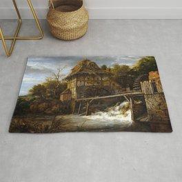 Jacob van Ruisdael Two Undershot Watermills Rug