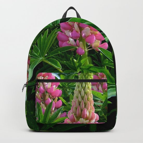 Rose Lupins in the Garden Backpack