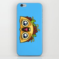 taco iPhone & iPod Skins featuring Excited Taco by Artistic Dyslexia