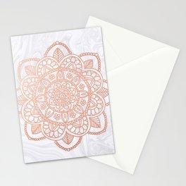 Rose Gold Mandala on White Marble Stationery Cards