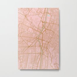 Pink and gold Medellin map, Colombia Metal Print