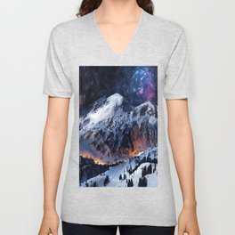 Mountain CALM IN space view Unisex V-Neck