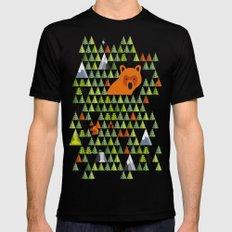Barnål Bjørn - Pine Needle Bear, Nordic tree, forest, wood, mountain pattern LARGE Black Mens Fitted Tee