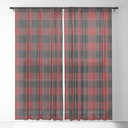 Red and Black Plaid Sheer Curtain