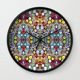 Colorful Gold Circles Pattern Wall Clock