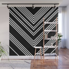 Back and White Lines Minimal Pattern No.3 Wall Mural