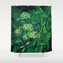 Hydrangea and Horseradish, black and green Shower Curtain