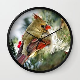 Female Cardinal Wall Clock