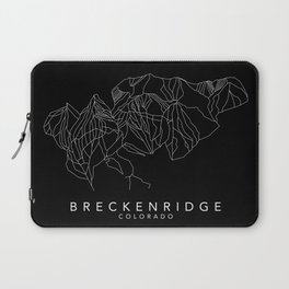 BRECKENRIDGE B&W // Colorado Trail Map White on Black Runs Minimalist Ski & Snowboard Illustration Laptop Sleeve