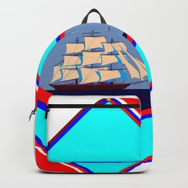 A Nautical Oval Ship and Anchors, red, white and blue Backpack