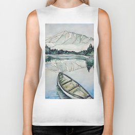 Canoe on the lake Biker Tank