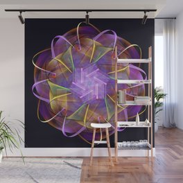 Colorful fractal atom shape Wall Mural