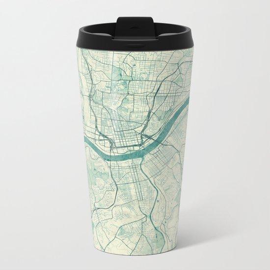 Cincinnati Map Blue Vintage Metal Travel Mug