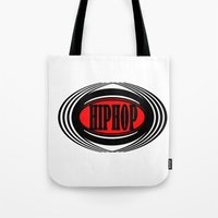hip hop Tote Bags featuring HIP HOP  by Robleedesigns
