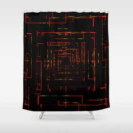 Banners with electronic red cards. Shower Curtain