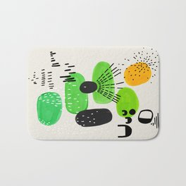 Mid Century Modern Abstract Vintage Colorful Shapes Patterns Lime Green Yellow Pebbles Bath Mat