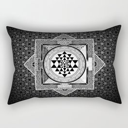 Sri Yantra Black & White Sacred Geometry Mandala Rectangular Pillow