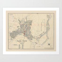 Map Of Capetown 1897 Art Print