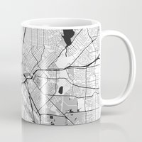 dallas Mugs featuring Dallas Map Gray by City Art Posters