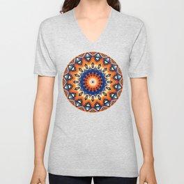 Geometric Orange And Blue Symmetry Unisex V-Neck