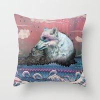 globe Throw Pillows featuring Lone Wolf by Mat Miller