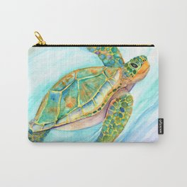 Swimming, Smiling Sea Turtle Carry-All Pouch