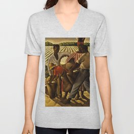 African American Masterpiece 'Employment of Negroes in Agriculture' by Earle Wilton Richardson Unisex V-Neck